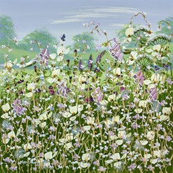 Wild Flowers In Bloom II by Mary Shaw - Original Painting on Board sized 16x16 inches. Available from Whitewall Galleries